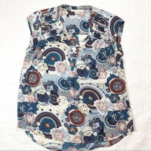 Daniel Rainn cap sleeve geo print blouse